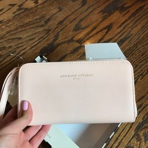 BRAND NEW baby pink wallet with portable charger